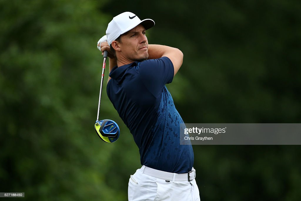 Jamie Lovemark hits his tee shot on the 8th hole during a continuation of the third round of the Zurich Classic at TPC Louisiana on May 2, 2016 in Avondale, Louisiana.
