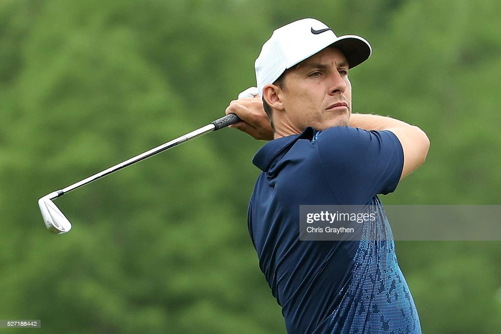 Jamie Lovemark hits his tee shot on the 9th hole during a continuation of the third round of the Zurich Classic at TPC Louisiana on May 2, 2016 in Avondale, Louisiana.