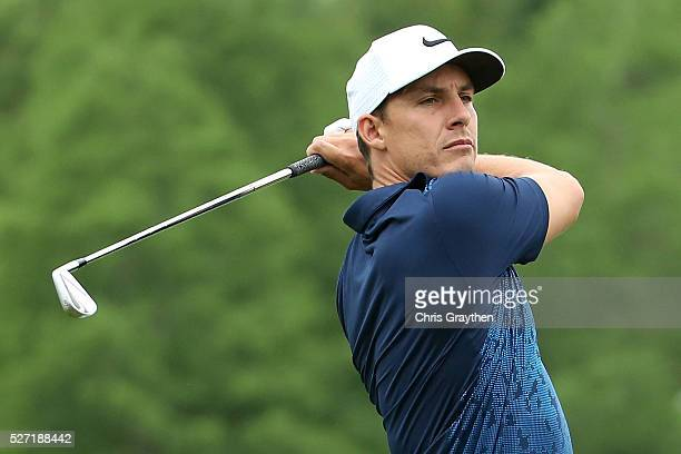 Jamie Lovemark hits his tee shot on the 9th hole during a continuation of the third round of the Zurich Classic at TPC Louisiana on May 2 2016 in...