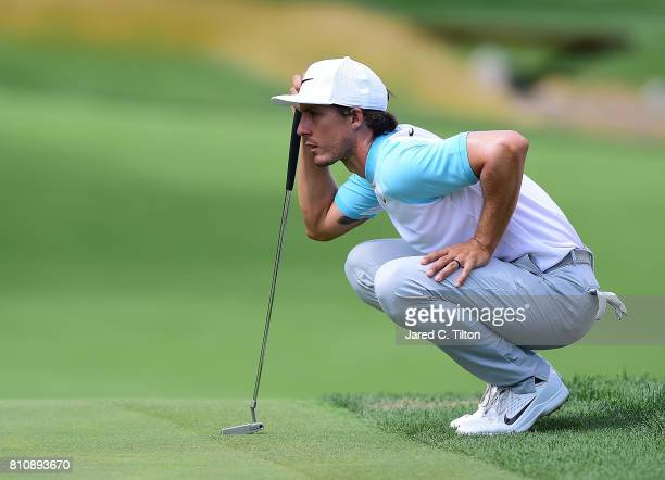 Jamie Lovemark lines up his putt on the 12th green during round three of The Greenbrier Classic held at the Old White TPC on July 8 2017 in White...
