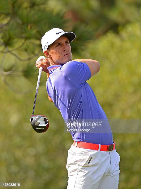 Jamie Lovemark makes a tee shot on the 14th hole during the second round of the Barracuda Championship at the Montreux Golf and Country Club on...