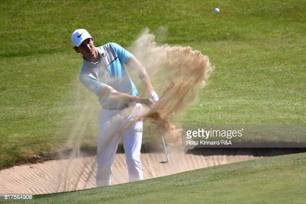 Jamie Lovemark of the United States hits from a bunker during a practice round prior to the 146th Open Championship at Royal Birkdale on July 18 2017...