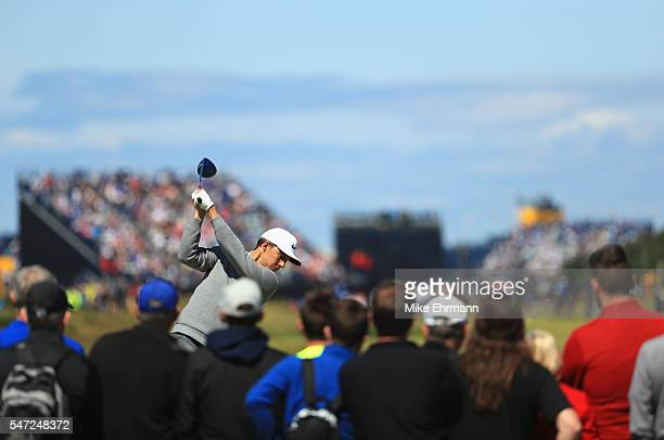 Jamie Lovemark of the United States hits his tee shot on the 15th during the first round on day one of the 145th Open Championship at Royal Troon on...