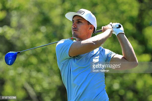Jamie Lovemark of the United States hits his tee shot on the sixth hole during the third round of the Shell Houston Open at the Golf Club of Houston...