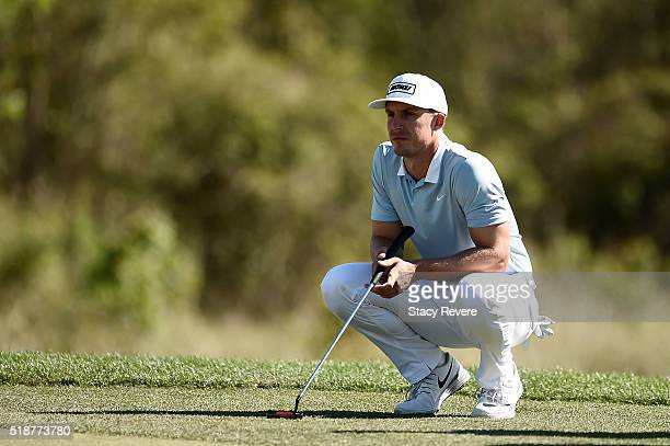 Jamie Lovemark of the United States lines up a putt on the 16th green during the third round of the Shell Houston Open at the Golf Club of Houston on...