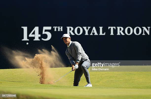 Jamie Lovemark of the United States plays a shot from a bunker on the 18th hole during the first round on day one of the 145th Open Championship at...