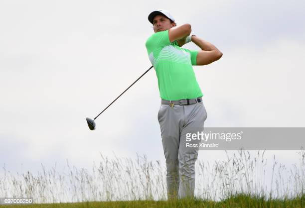 Jamie Lovemark of the United States plays his shot from the fifth tee during the third round of the 2017 US Open at Erin Hills on June 17 2017 in...