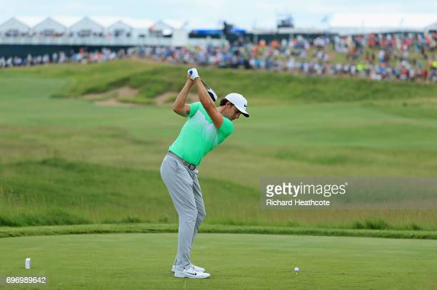 Jamie Lovemark of the United States plays his shot from the first tee during the third round of the 2017 US Open at Erin Hills on June 17 2017 in...