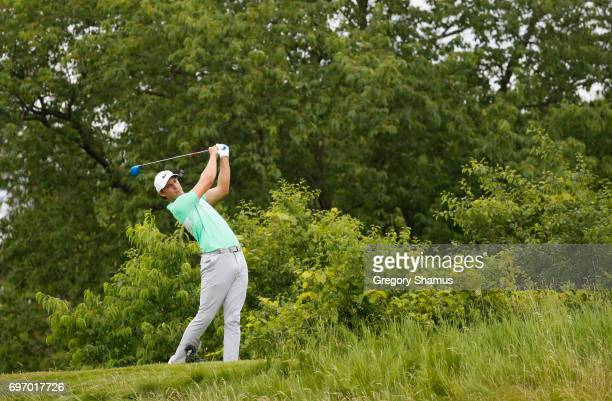 Jamie Lovemark of the United States plays his shot from the third tee during the third round of the 2017 US Open at Erin Hills on June 17 2017 in...