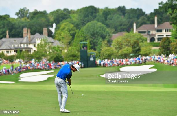 Jamie Lovemark of the United States plays his shot on the first hole during the third round of the 2017 PGA Championship at Quail Hollow Club on...