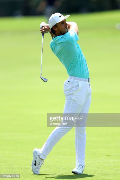 Jamie Lovemark of the United States plays his shot on the second hole during the first round of the 2017 PGA Championship at Quail Hollow Club on...