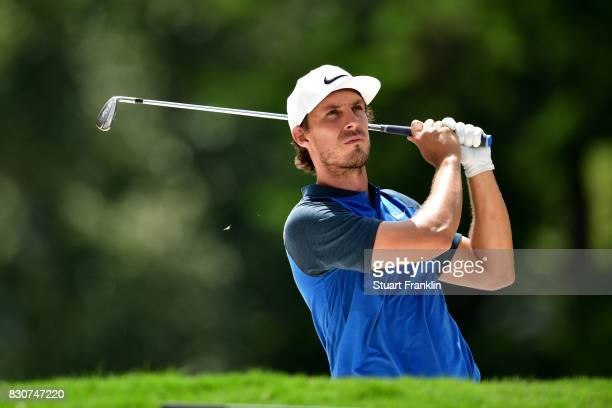 Jamie Lovemark of the United States plays his shot on the third hole during the third round of the 2017 PGA Championship at Quail Hollow Club on...