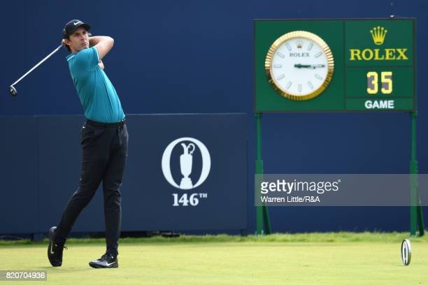 Jamie Lovemark of the United States tees off on the first hole during the third round of the 146th Open Championship at Royal Birkdale on July 22...