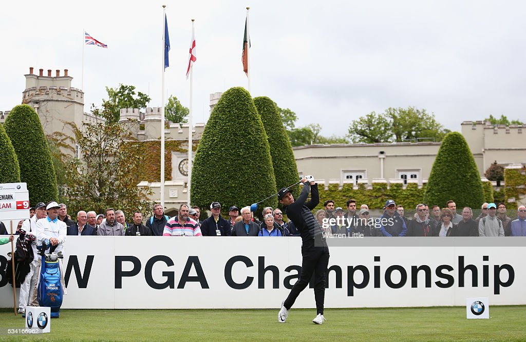 <a gi-track='captionPersonalityLinkClicked' href=/galleries/search?phrase=Jamie+Lovemark&family=editorial&specificpeople=4350703 ng-click='$event.stopPropagation()'>Jamie Lovemark</a> of the USA tees off on the first hole during the Pro-Am prior to the BMW PGA Championship at Wentworth on May 25, 2016 in Virginia Water, England.