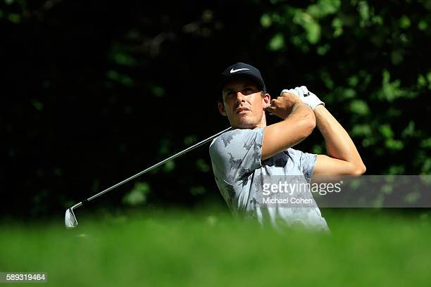 Jamie Lovemark plays his shot from the sixth tee during the third round of the John Deere Classic at TPC Deere Run on August 13 2016 in Silvis...