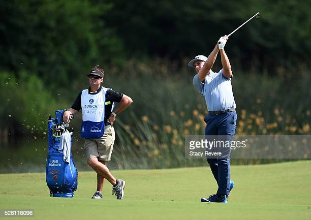Jamie Lovemark takes his second shot on the 18th hole during the second round of the Zurich Classic of New Orleans at TPC Louisiana on April 29 2016...