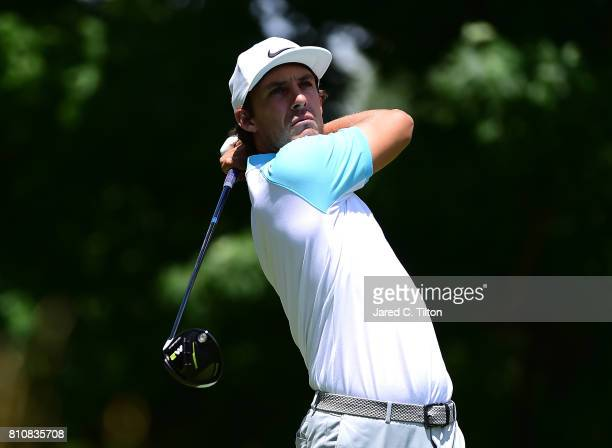 Jamie Lovemark tees off the sixth hole during round three of The Greenbrier Classic held at the Old White TPC on July 8 2017 in White Sulphur Springs...
