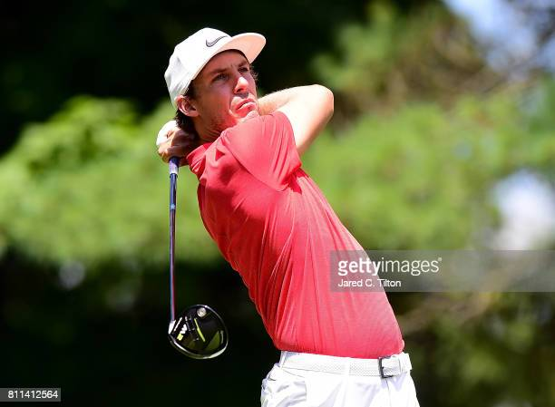 Jamie Lovemark tees off the sixth hole during the final round of The Greenbrier Classic held at the Old White TPC on July 9 2017 in White Sulphur...
