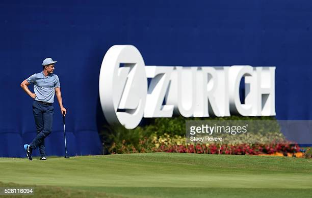 Jamie Lovemark waits to putt on the 18th hole during the second round of the Zurich Classic of New Orleans at TPC Louisiana on April 29 2016 in...