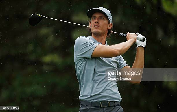 Jamie Lovemark watches his tee shot on the 16th hole during the second round of the Webcom Tour Hotel Fitness Championship at Sycamore Hills Golf...