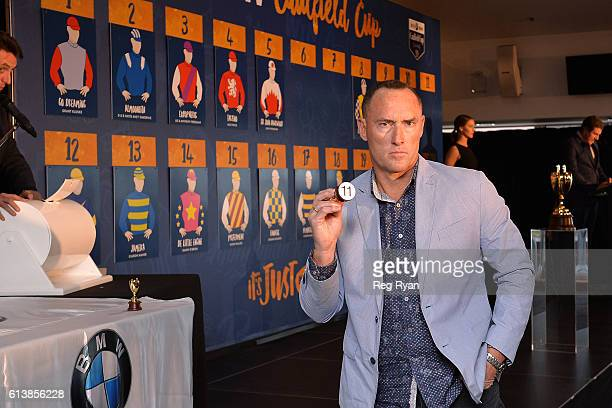 Jamie Lovett representative of Articus draws Barrier11 at Caulfield Racecourse on October 11 2016 in Caulfield Australia