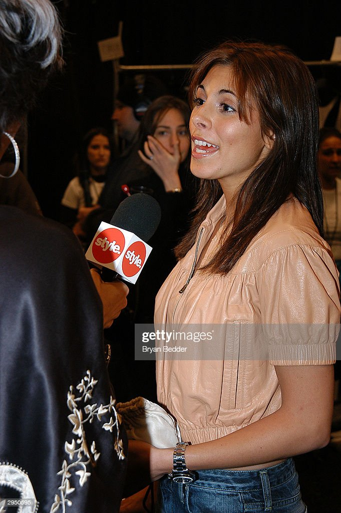 Jamie Lynn DiScala is interviewed backstage at the Luca Luca fashion show at Bryant Park during the Olympus 2004 Fall Fashion Show February 8, 2004 in New York City.
