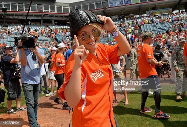 Jamie Lynn Spears participates in City of Hope Celebrity Softball Game during the CMA Festival at Greer Stadium on June 7 2014 in Nashville Tennessee