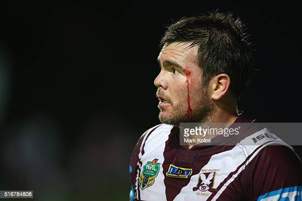 Jamie Lyon of the Eagles watches on during the round three NRL match between the Manly Sea Eagles and the Cronulla Sharks at Brookvale Oval on March...