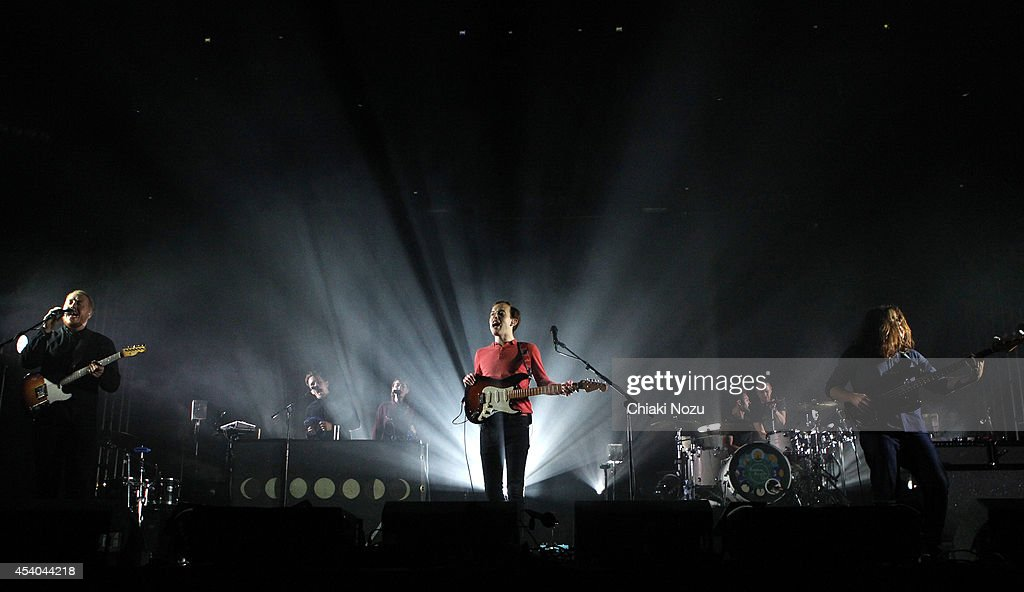 Jamie MacColl, Jack Steadman, Suren de Saram and Ed Nash of Bombay Bicycle Club perform on Day 2 of the Reading Festival at Richfield Avenue on August 23, 2014 in Reading, England.