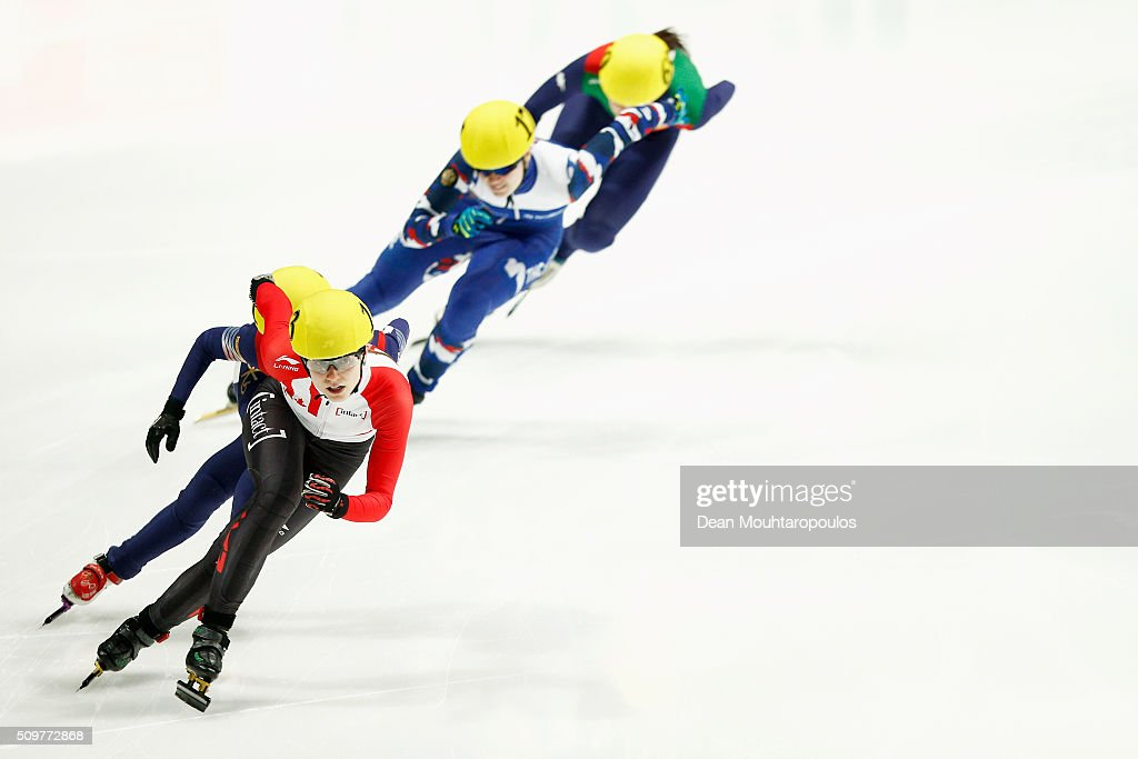 Jamie Macdonald of Canada leads in the womens 500m heat during ISU Short Track Speed Skating World Cup held at The Sportboulevard on February 12, 2016 in Dordrecht, Netherlands.
