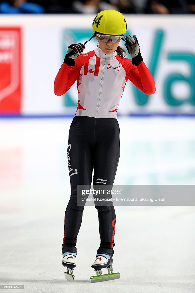 Jamie MacDonald of Canada prepares prior to the ladies 1000m final A during Day 2 of ISU Short Track World Cup at Sportboulevard on February 13, 2016 in Dordrecht, Netherlands.