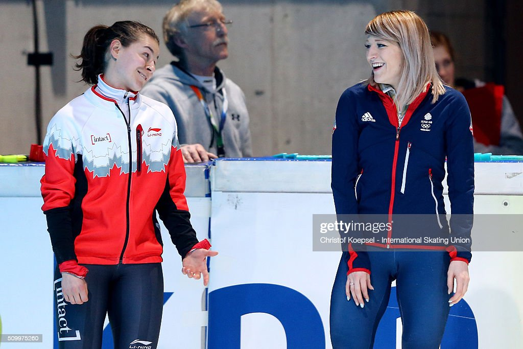 Jamie MacDonald of Canada smiles at winner <a gi-track='captionPersonalityLinkClicked' href=/galleries/search?phrase=Elise+Christie&family=editorial&specificpeople=4113885 ng-click='$event.stopPropagation()'>Elise Christie</a> of Great Britain of the ladies 1000m final A during Day 2 of ISU Short Track World Cup at Sportboulevard on February 13, 2016 in Dordrecht, Netherlands.