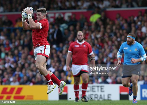 Jamie MacKenzie of Canada catches the ball in the air during the 2015 Rugby World Cup Pool D match between Italy and Canada at Elland Road on...