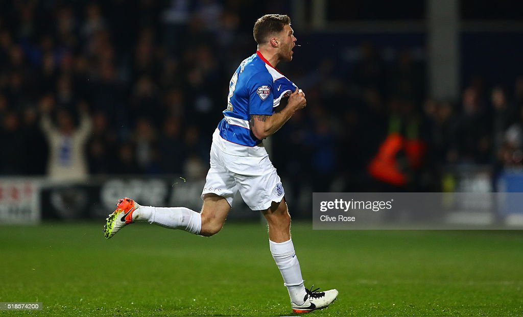 <a gi-track='captionPersonalityLinkClicked' href=/galleries/search?phrase=Jamie+Mackie&family=editorial&specificpeople=5545546 ng-click='$event.stopPropagation()'>Jamie Mackie</a> of Queens Park Rangers celebrates scoring his side's first goal during the Sky Bet Championship match between Queens Park Rangers and Middlesbrough at Loftus Road on April 1, 2016 in London, England.