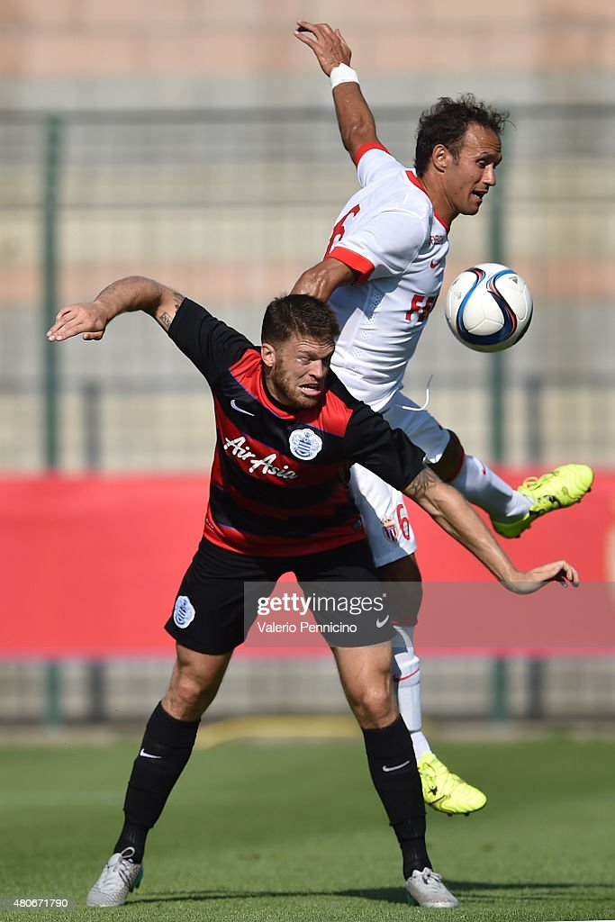 <a gi-track='captionPersonalityLinkClicked' href=/galleries/search?phrase=Jamie+Mackie&family=editorial&specificpeople=5545546 ng-click='$event.stopPropagation()'>Jamie Mackie</a> (L) of Queens Park Rangers clashes with <a gi-track='captionPersonalityLinkClicked' href=/galleries/search?phrase=Ricardo+Carvalho&family=editorial&specificpeople=209354 ng-click='$event.stopPropagation()'>Ricardo Carvalho</a> of AS Monaco during the preseason friendly match between Queens Park Rangers and AS Monaco on July 14, 2015 in Chatillon, Italy.