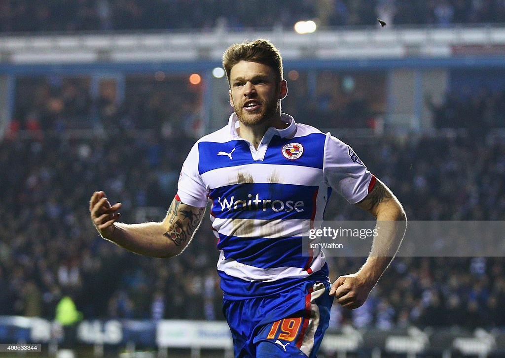 <a gi-track='captionPersonalityLinkClicked' href=/galleries/search?phrase=Jamie+Mackie&family=editorial&specificpeople=5545546 ng-click='$event.stopPropagation()'>Jamie Mackie</a> of Reading celebrates scoring his team's third goal during the FA Cup Quarter Final Replay match between Reading and Bradford City at Madejski Stadium on March 16, 2015 in Reading, England.