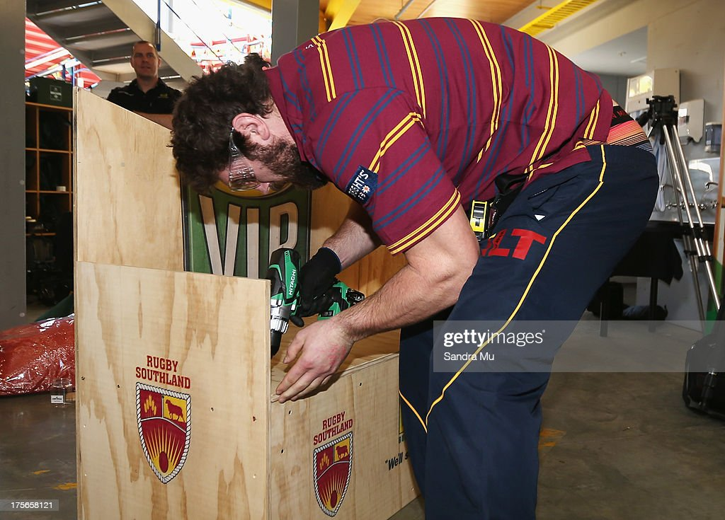 Jamie Mackintosh of Southland builds a fan seat during the 2013 launch of the ITM Cup at Unitec on August 6, 2013 in Auckland, New Zealand.