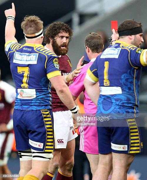 Jamie Mackintosh of Southland gets sent off by referee Jamie Nutbrown during the round seven ITM Cup match between Otago and Southland at Forsyth...