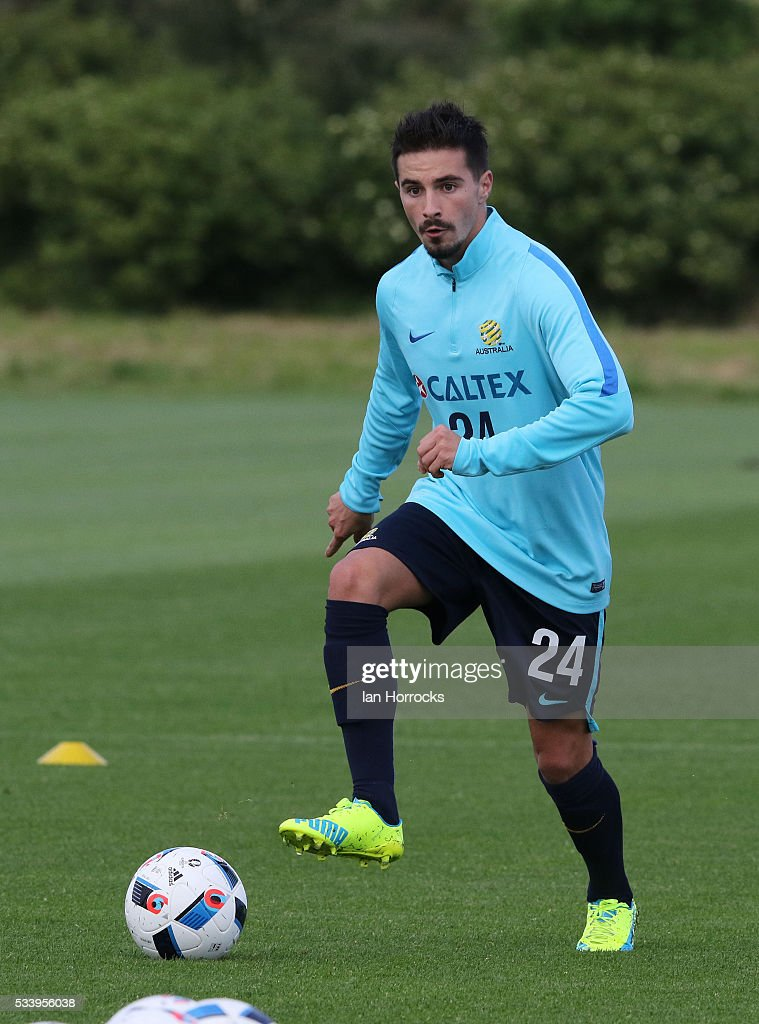 Jamie Maclaren during a Australia National football team training session at The Academy of Light on May 24, 2016 in Sunderland, England.