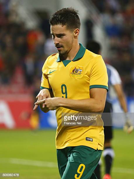 Jamie Maclaren of Australia celebrates as he scores their second goal during the AFC U23 Championship Group D match between Vietnam and Australia at...