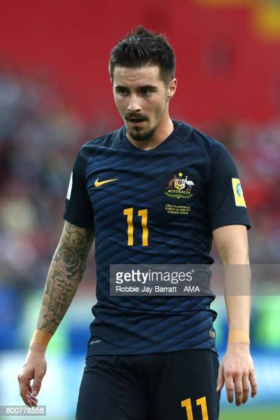 Jamie MacLaren of Australia looks on during the FIFA Confederations Cup Russia 2017 Group B match between Chile and Australia at Spartak Stadium on...