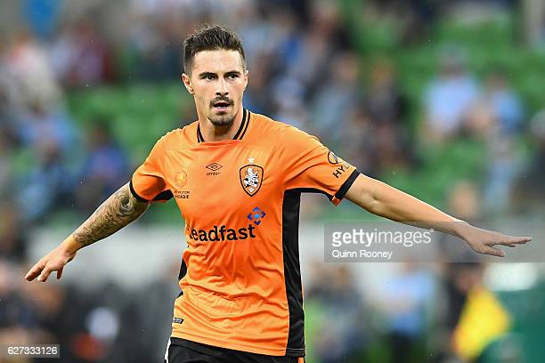 Jamie Maclaren of Brisbane Roar celebrates a goal during the round nine ALeague match between Melbourne City FC and the Brisbane Roar at AAMI Park on...