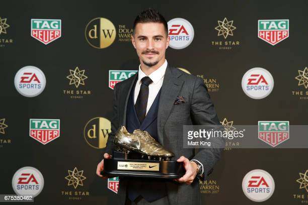 Jamie Maclaren of Brisbane Roar poses with the ALeague Golden Boot award during the FFA Dolan Warren Awards at The Star on May 1 2017 in Sydney...