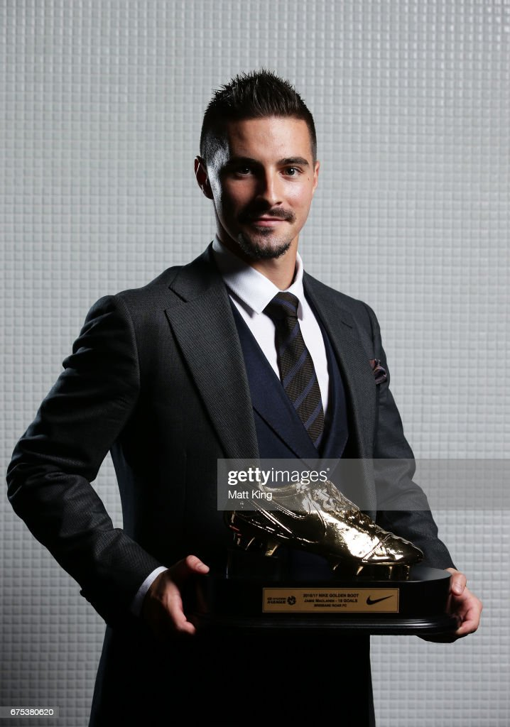 Jamie Maclaren of Brisbane Roar poses with the A-League Golden Boot award during the FFA Dolan Warren Awards at The Star on May 1, 2017 in Sydney, Australia.