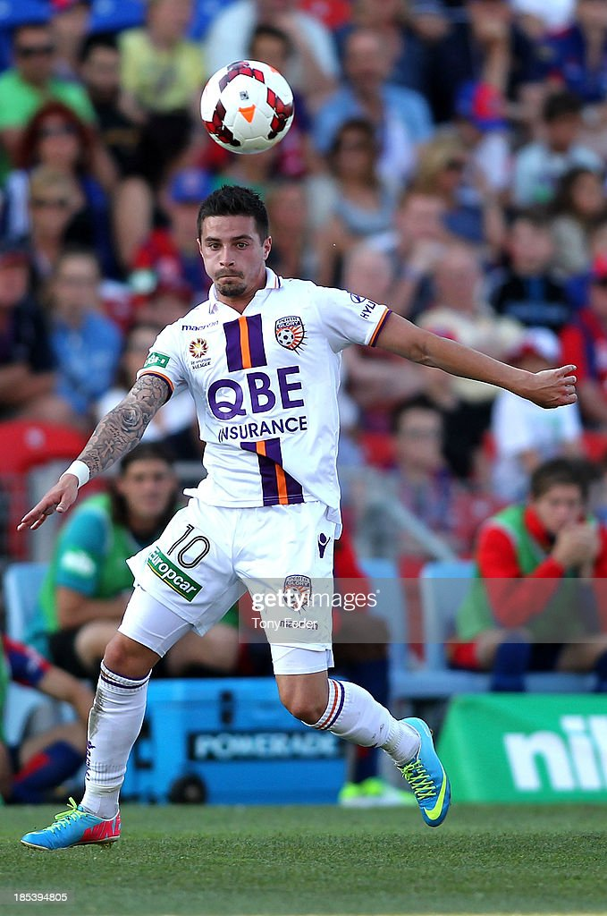 Jamie Maclaren of the Glory controls the ball during the round two A-League match between the Newcastle Jets and the Perth Glory at Hunter Stadium on October 20, 2013 in Newcastle, Australia.