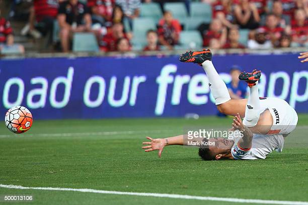 Jamie Maclaren of the Roar appeals to the referee as he falls after a tackle in front of goal during the round nine ALeague match between the Western...