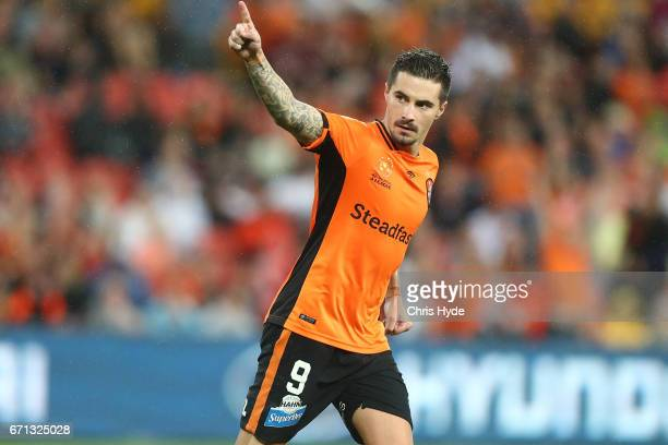Jamie Maclaren of the Roar celebrates after scoring in the penalty shootout during the ALeague Elimination Final match between the Brisbane Roar and...