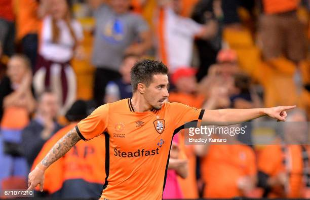 Jamie Maclaren of the Roar celebrates scoring a goal during the ALeague Elimination Final match between the Brisbane Roar and the Western Sydney...