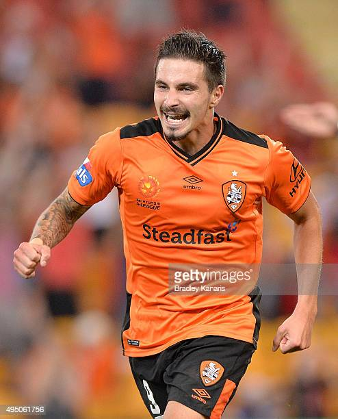 Jamie Maclaren of the Roar celebrates scoring a goal during the round four ALeague match between Brisbane Roar and Adelaide United at Suncorp Stadium...