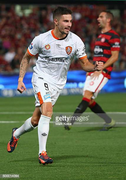 Jamie Maclaren of the Roar celebrates scoring a goal during the round nine ALeague match between the Western Sydney Wanderers and the Brisbane Roar...